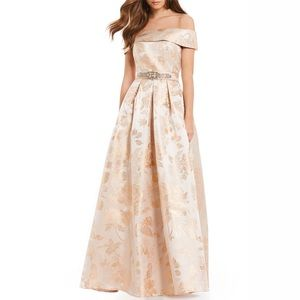 ELIZA J BELTED JACQUARD DRESS